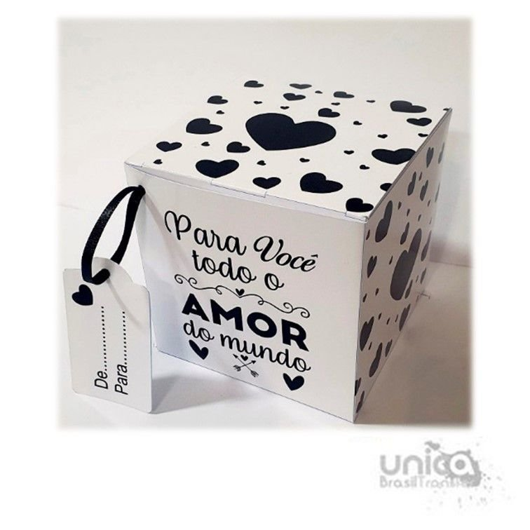 Caixinha Preto e Branco Todo Amor - 12 Unidades