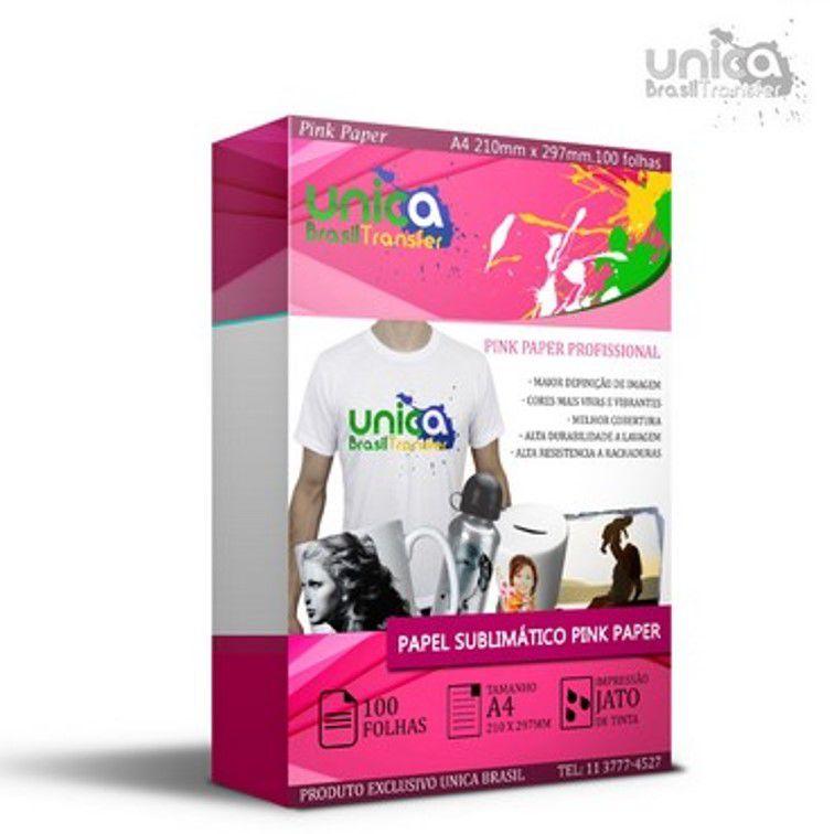 Papel Para Sublimação Fundo Rosa A4 100 grs - 100 Folhas