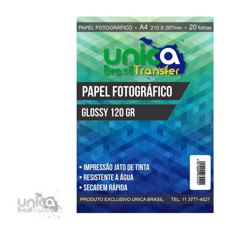 PAPEL FOTOGRÁFICO GLOSSY 120GR COM 20 UNIDADES