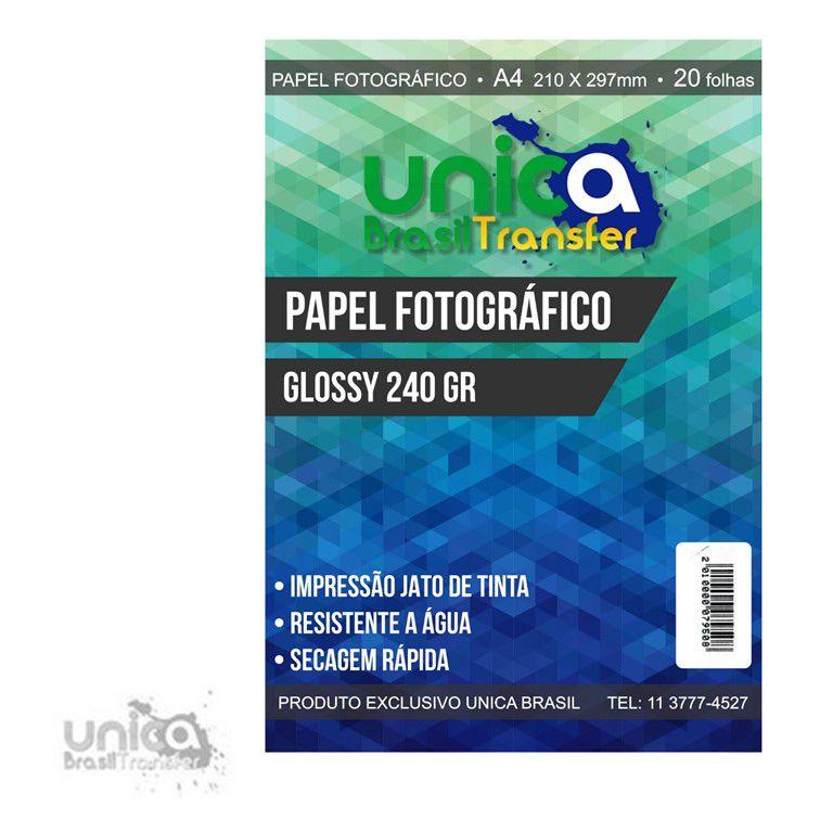 PAPEL FOTOGRÁFICO GLOSSY 240GR COM 20 UNIDADES
