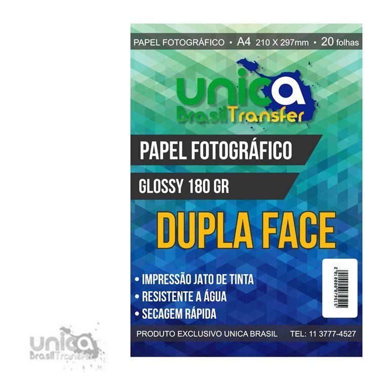 PAPEL FOTOGRÁFICO GLOSSY DUPLA FACE 180GRS COM 20 UNIDADES