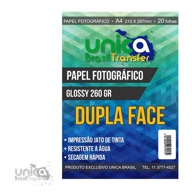 PAPEL FOTOGRÁFICO GLOSSY DUPLA FACE 260GRS COM 20 UNIDADES