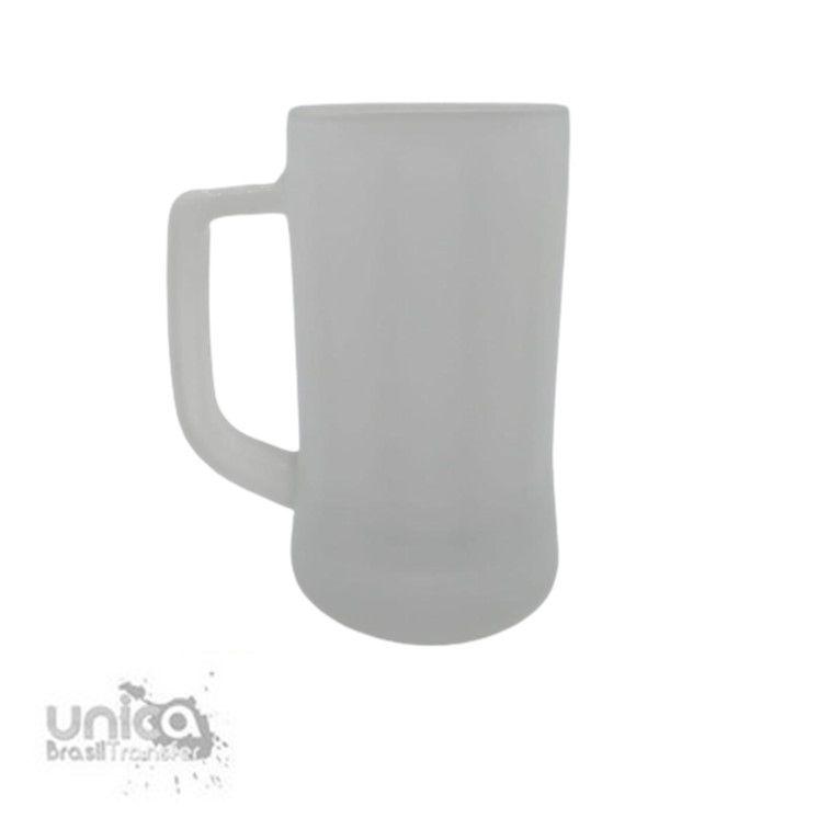 Caneca Chopp em Vidro Jateada Canelada Interna - 350ml