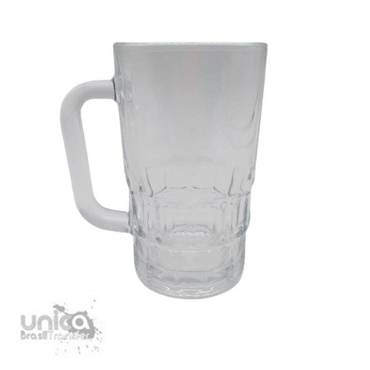 Caneca Chopp em Vidro Cristal Canelada Externa - 350ml