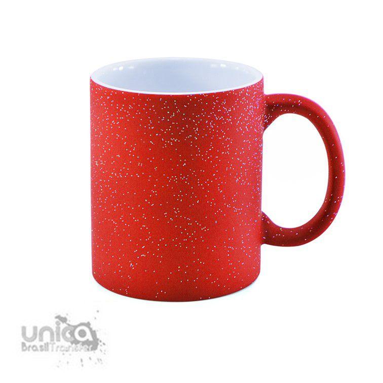 Caneca Magica Vermelha Com Glitter 325ml