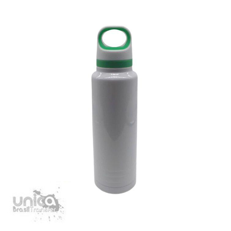 Garrafa Térmica Branca C/ Alça Verde 600 ml