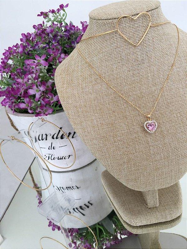Colar de Coração com Pedra Rosa e Micro Zircônias
