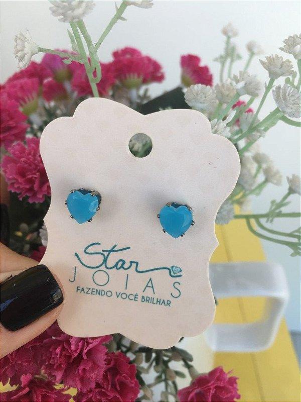 Brinco de Coração em Ródio Negro com Pedra Azul