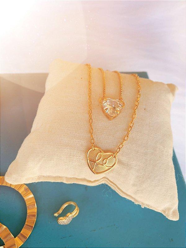 Colar duplo coração fé dourado