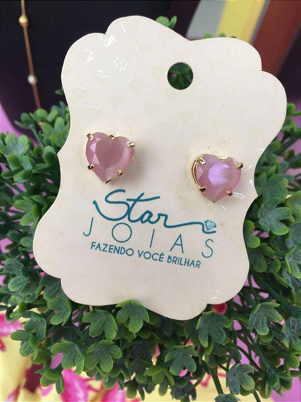 Brinco de Coração com Pedra Fusion Rosa