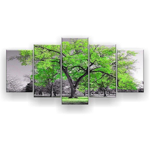 Quadro Decorativo Árvore Grande Verde Limão 129x61 5pc Sala