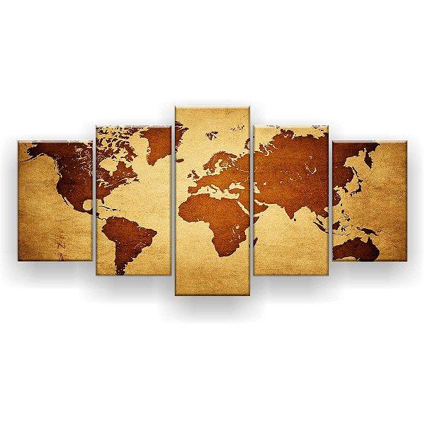 Quadro Decorativo Mapa Mundi Globo Hd 129x61 Quarto Sala