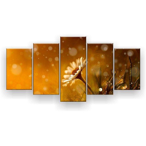 Quadro Decorativo Flor e Chuva 129x61 5pc Sala