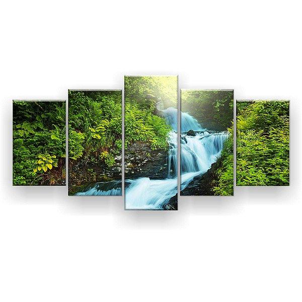 Quadro Decorativo Cachoeira com verde 129x61 5pc Sala