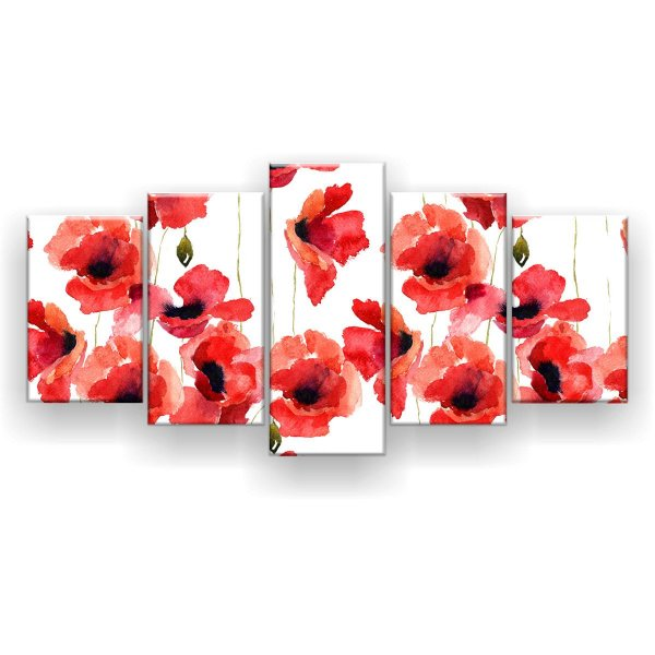 Quadro Decorativo Flores Estilizadas Da Papoula 129x61 5pc Sala