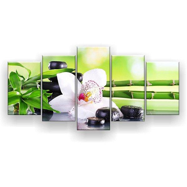 Quadro Decorativo Orquídea Fundo Verde 129x61 5pc Sala