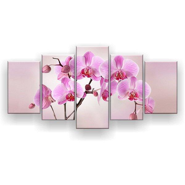 Quadro Decorativo Orquídeas Rosa 129x61 5pc Sala