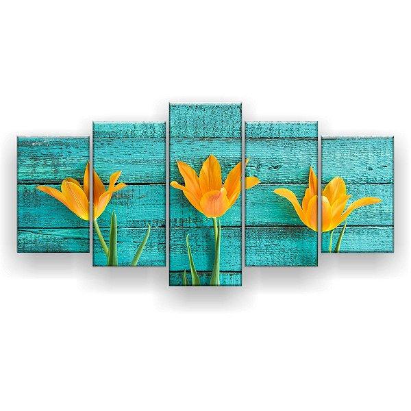 Quadro Decorativo Tulipas Amarelas 129x61 5pc Sala