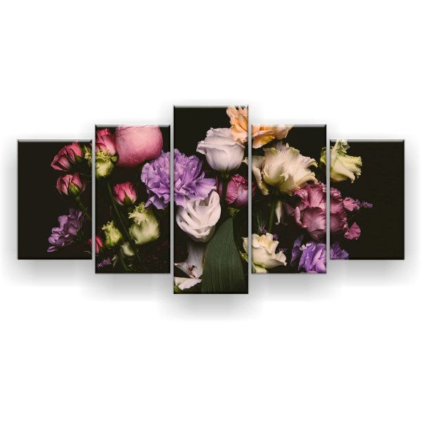 Quadro Decorativo Flores Desabrochando Fundo Preto 129x61 5pc Sala