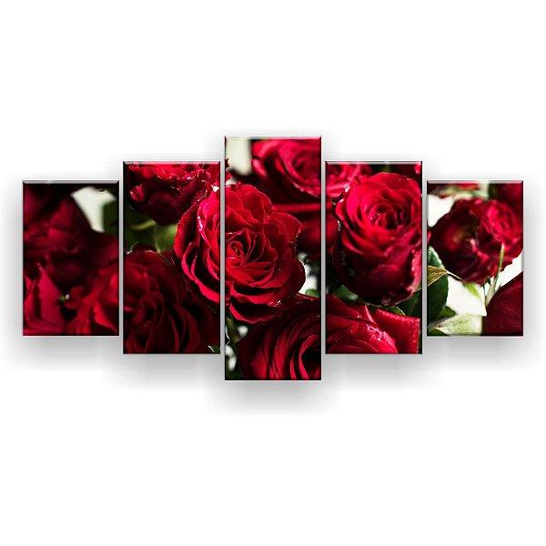 Quadro Decorativo Botões De Rosas Abertos 129x61 5pc Sala