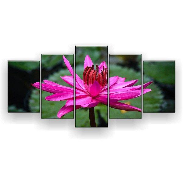 Quadro Decorativo Flor De Lótus Aberta 129x61 5pc Sala
