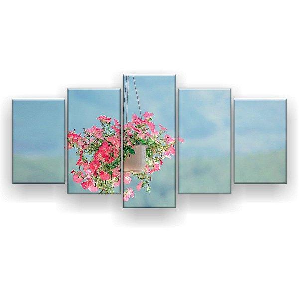 Quadro Decorativo Vaso De Flor 129x61 5pc Sala
