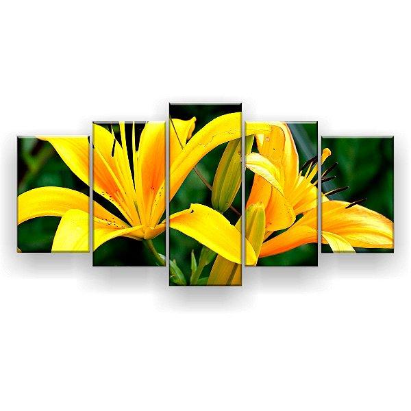 Quadro Decorativo Flores Amarelas 129x61 5pc Sala