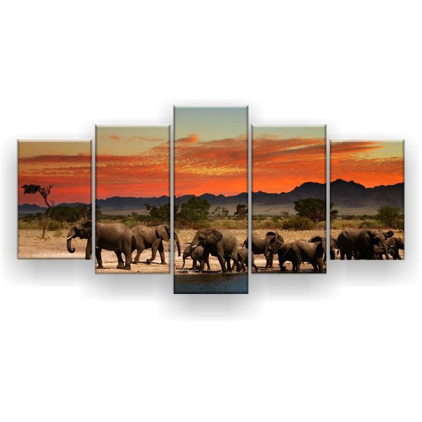 Quadro Decorativo Manada De Elefante 129x61 5pc Sala