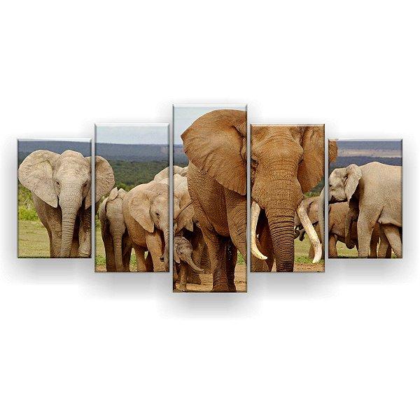 Quadro Decorativo Nove Elefantes 129x61 5pc Sala