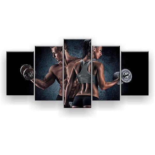 Quadro Decorativo Casal Bíceps Halter Fitness 129x61 5pc Sala