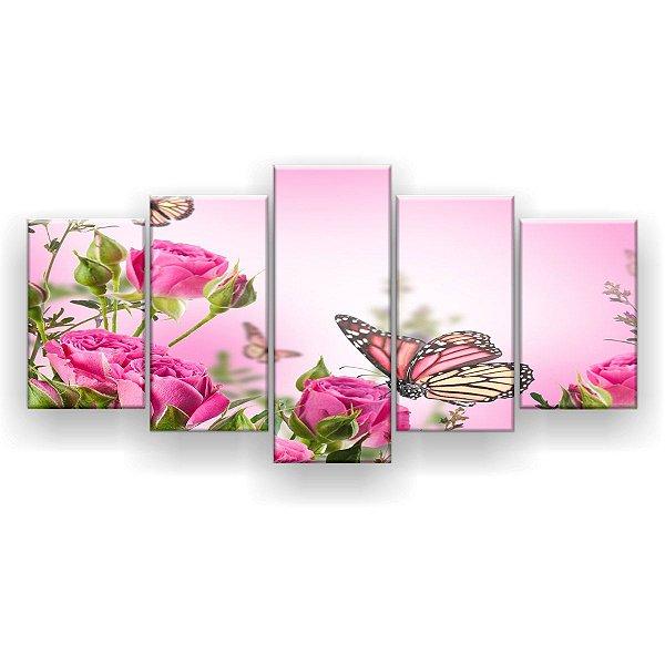 Quadro Decorativo Borboletas Monarca Rosas 129x61 5pc Sala
