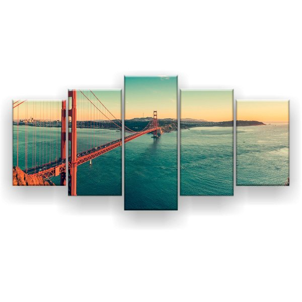 Quadro Decorativo Golden Gate São Francisco 129x61 5pc Sala