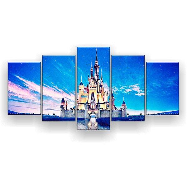 Quadro Decorativo Castelo Disney Lago 129x61 5pc Sala