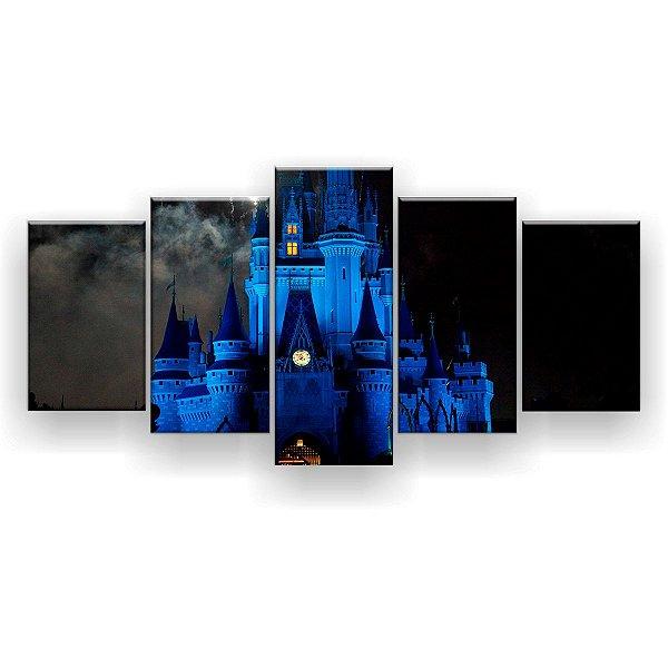 Quadro Decorativo Castelo Noturno 129x61 5pc Sala