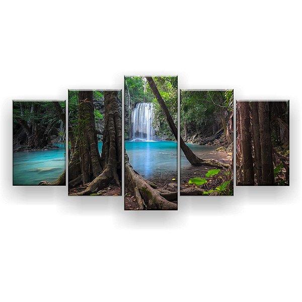 Quadro Decorativo Cachoeira Landscape 129x61 5pc Sala