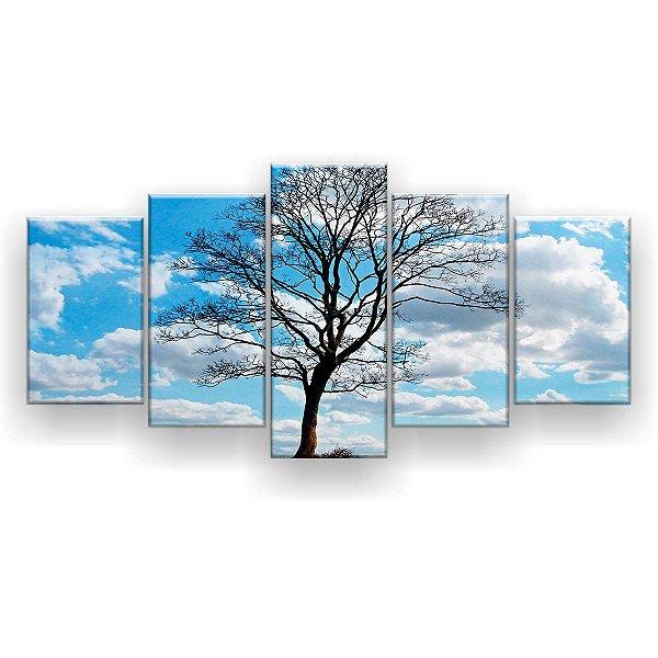 Quadro Decorativo Árvore Céu Azul 129x61 5pc Sala