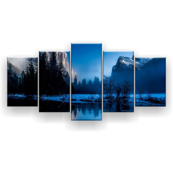 Quadro Decorativo Inverno Noturno 129x61 5pc Sala
