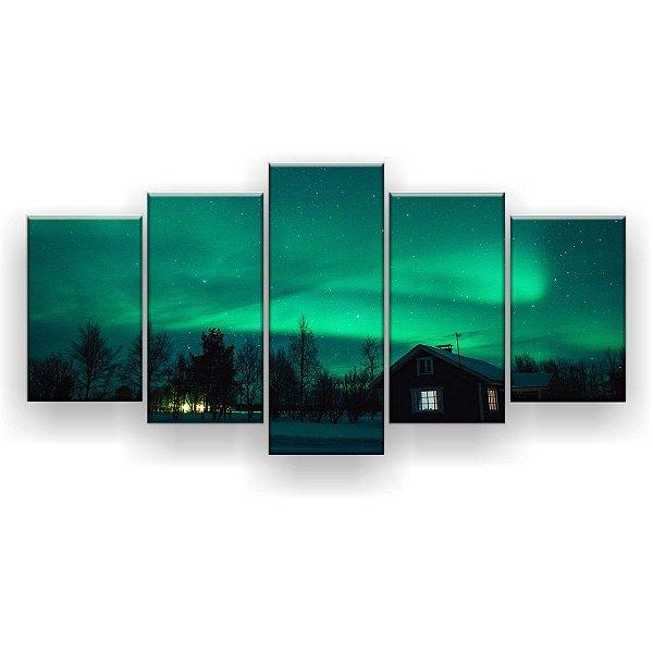 Quadro Decorativo Aurora Boreal Casa 129x61 5pc Sala