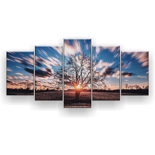 Quadro Decorativo Árvore Fundo Desfocado 129x61 5pc Sala