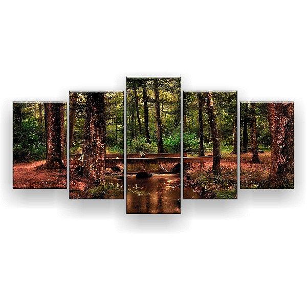 Quadro Decorativo Córrego Na Floresta 129x61 5pc Sala