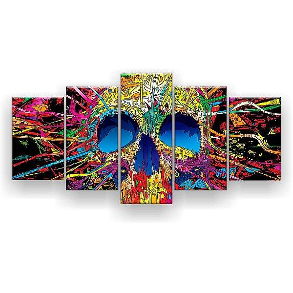 Quadro Decorativo Caveira Psicodélica Colorida 129x61 5pc Sala