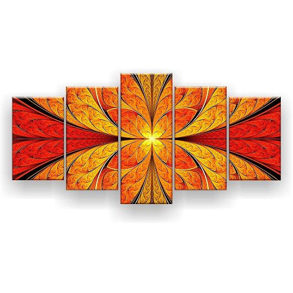 Quadro Decorativo Mandala Vitral Laranja 129x61 5pc Sala