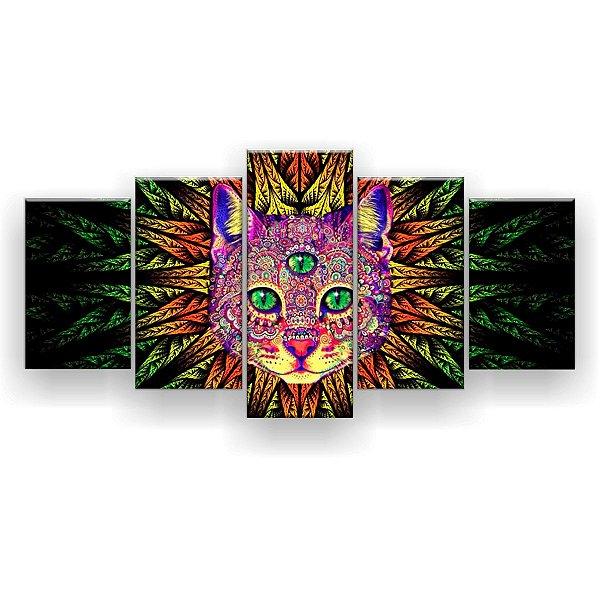 Quadro Decorativo Gato Trance Psicodélico 129x61 5pc Sala