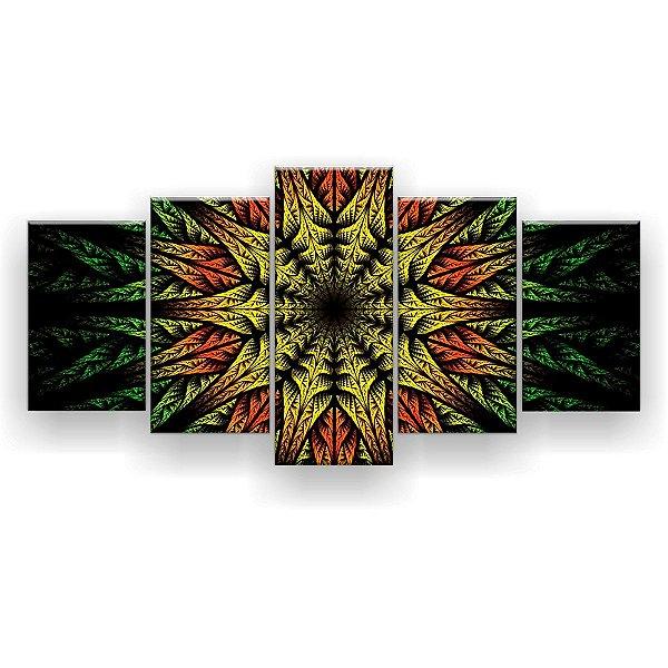 Quadro Decorativo Mandala Verde Amarelo Laranja 129x61 5pc Sala