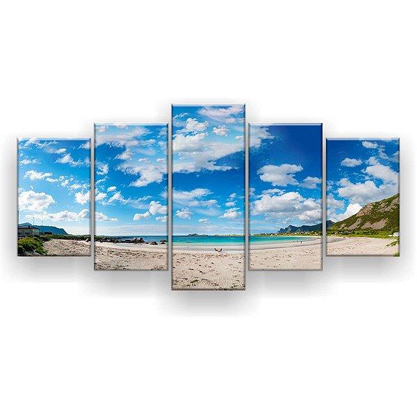 Quadro Decorativo Mar Céu Azul 129x61 5pc Sala