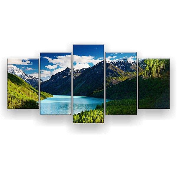 Quadro Decorativo Lago De Montanhas 129x61 5pc Sala