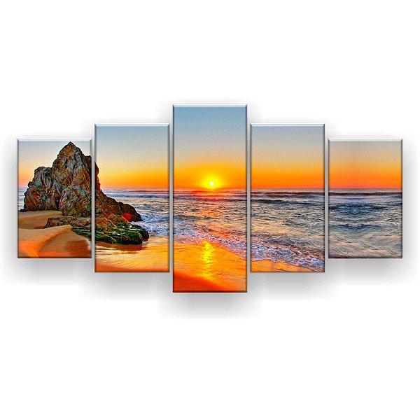 Quadro Decorativo Nascer Do Sol Pedras Tathra 129x61 5pc Sala