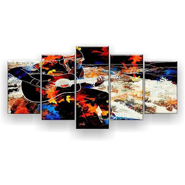 Quadro Decorativo Música Collor Pattern 129x61 5pc Sala