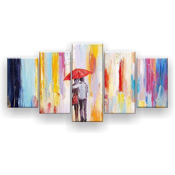 Quadro Decorativo Pintura Casal Guarda-Chuva 129x61 5pc Sala