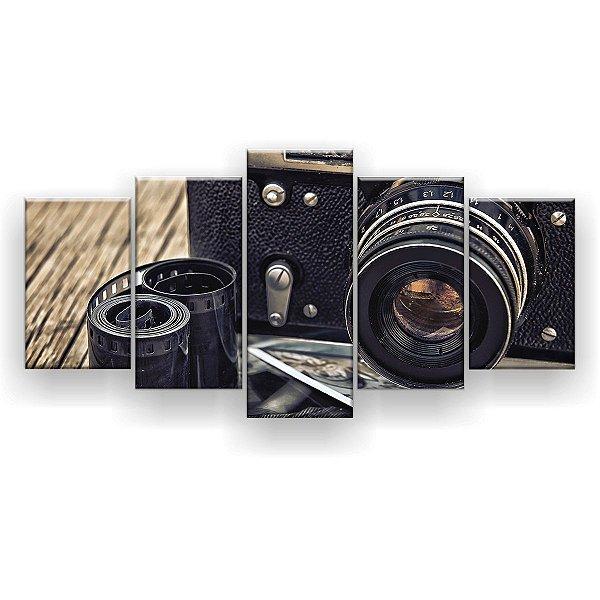 Quadro Decorativo Câmera Fotografia 129x61 5pc Sala